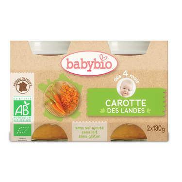 Petits pots bio carottes des Landes, dès 4 mois