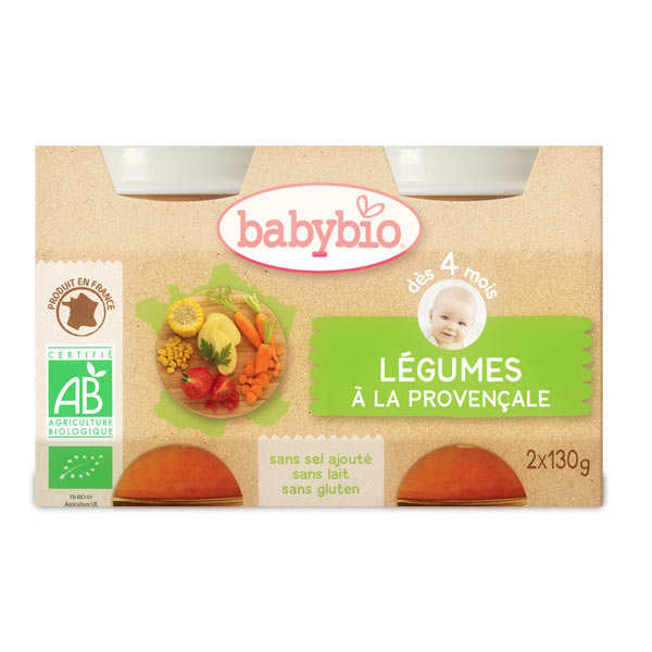 Petits pots bio de légumes à la provençale , dès 4 mois