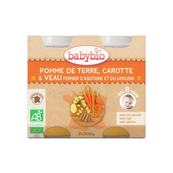 Organic Vegetables and veal Baby food jar from 8 months