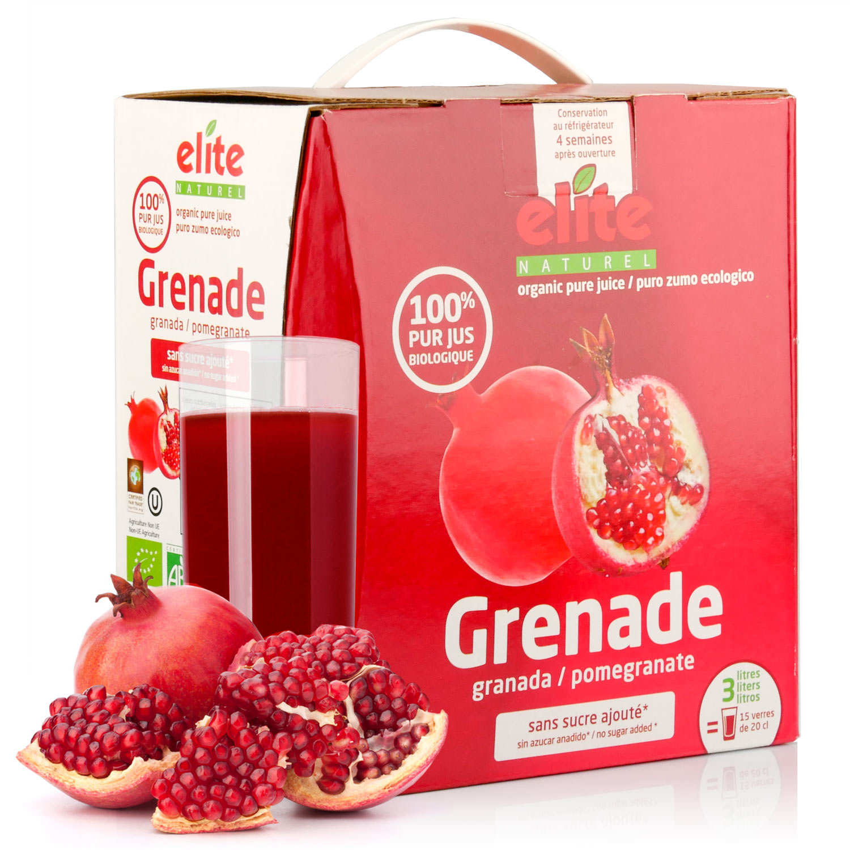 Pure organic pomegranate juice in 3L bag in box