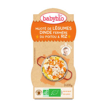 Organic turkey and Rice Baby food jar from 8 months