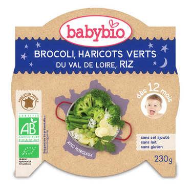 Assiette bio légumes verts et riz, dès 12 mois