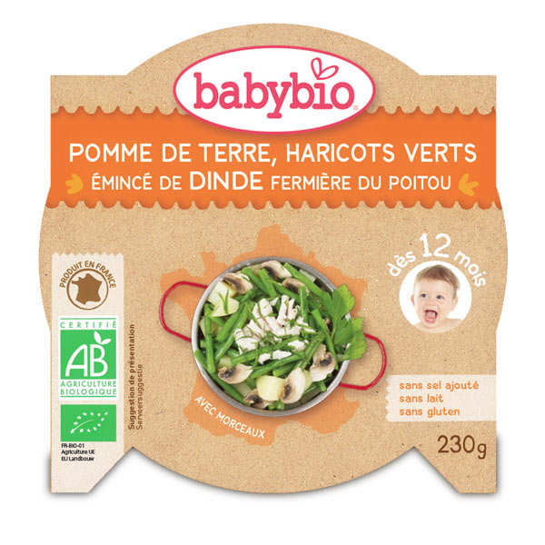 Organic vegetables and turkey Baby food jar from 12 months