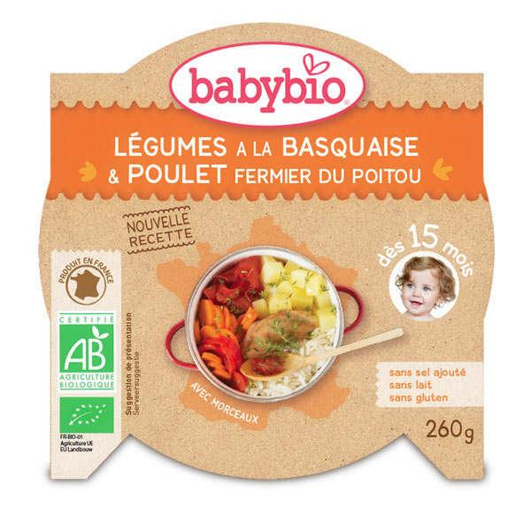 Assiette bio poulet basquaise et riz, dès 15 mois