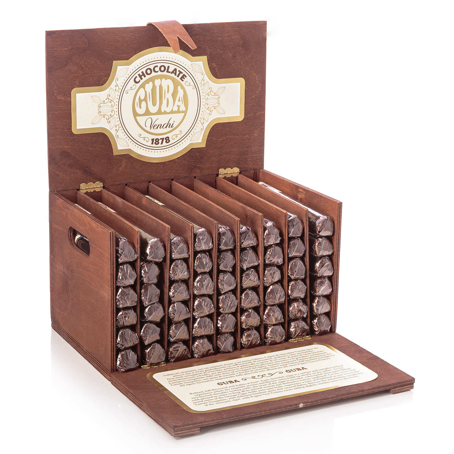 Wooden box with 54 chocolate cigars