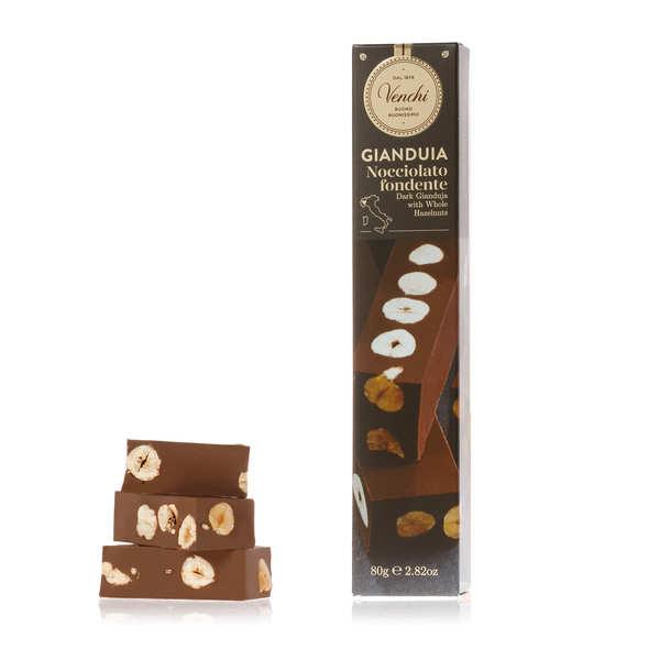 Barre gianduja chocolat noir fondant et noisettes