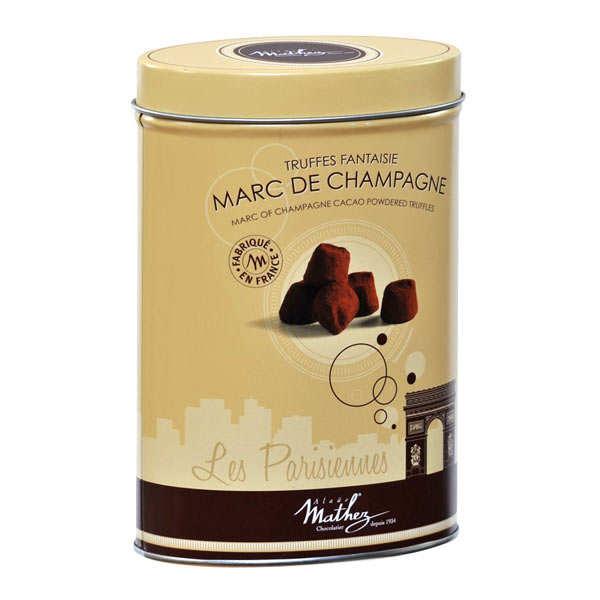 Les parisiennes - truffes au marc de champagne - boite métal 200g
