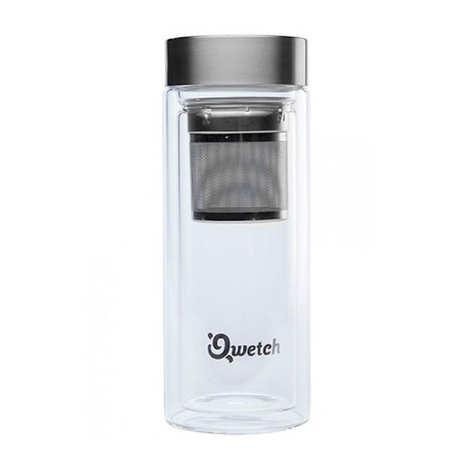 Qwetch - Théière de voyage double paroi avec filtre intégré et housse