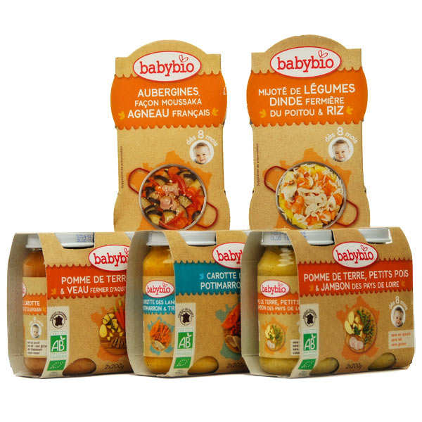 Petits plats de légumes et viande pour bébé dès 8 mois