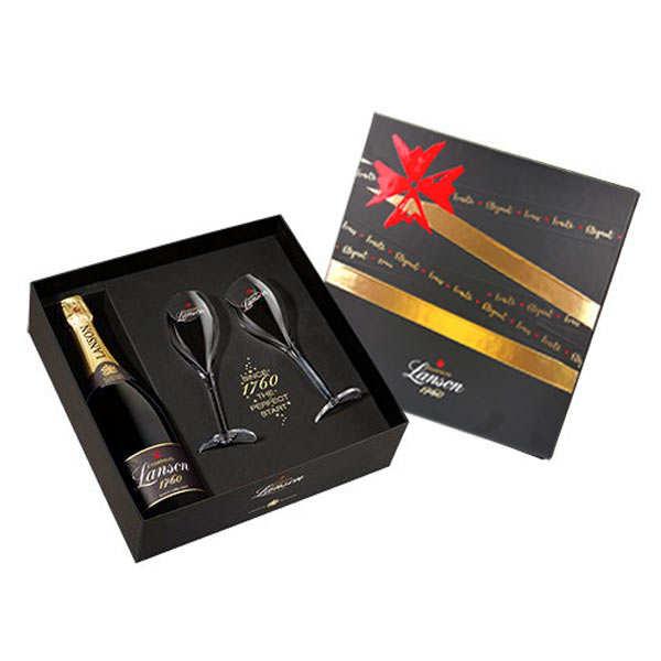 Coffret cadeau champagne Lanson 2 flûtes