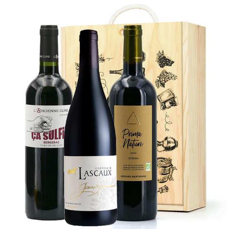 BienManger paniers garnis - Wooden box 3 wines without sulphites