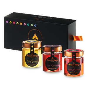 Famille Mary - Coffret 3 miels subtils et gourmands - framboise, champagne et violette