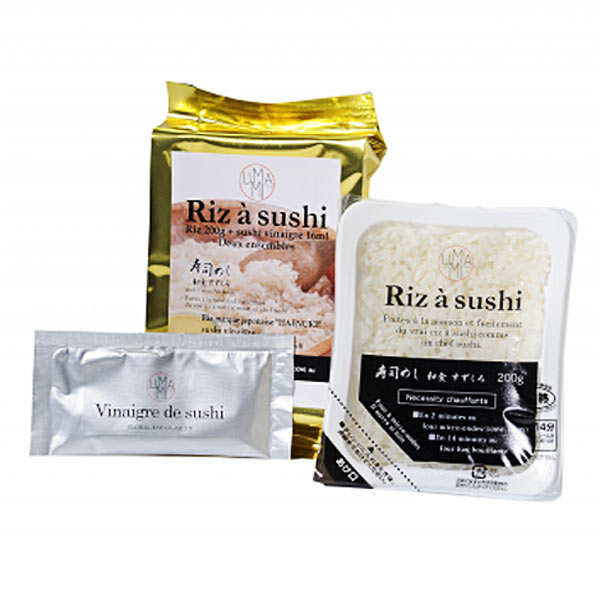 Riz japonais à sushi prêt à réchauffer et son vinaigre préparé