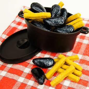 BienManger.com - Moules frites en chocolat au lait et praliné dans leur cocotte
