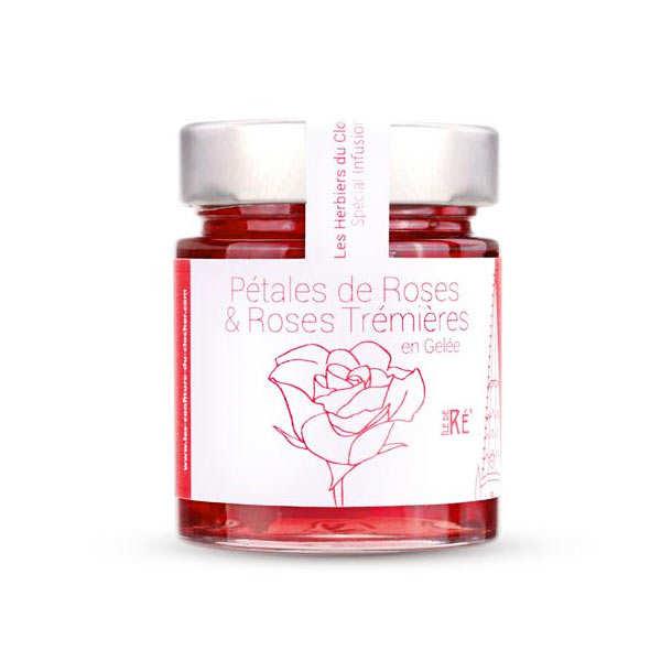 Gelée de pétales de roses et roses trémières