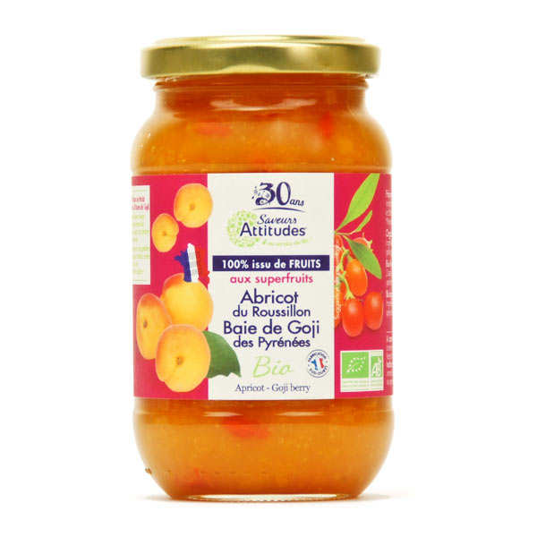 Confiture abricot du Roussillon baie de goji des Pyrénées bio sans sucre ajouté