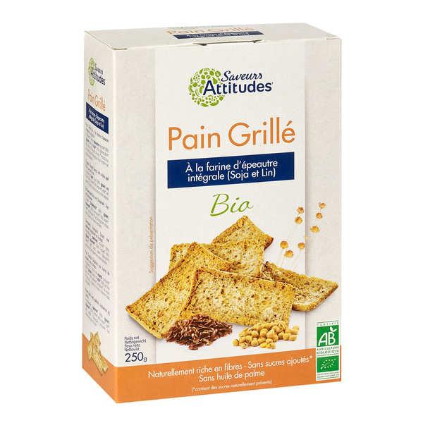 Pain grillé bio à la farine d'épeautre intégrale, soja et lin