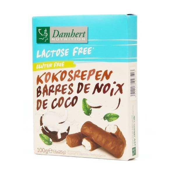 Barres coco enrobées de chocolat sans lactose et sans gluten
