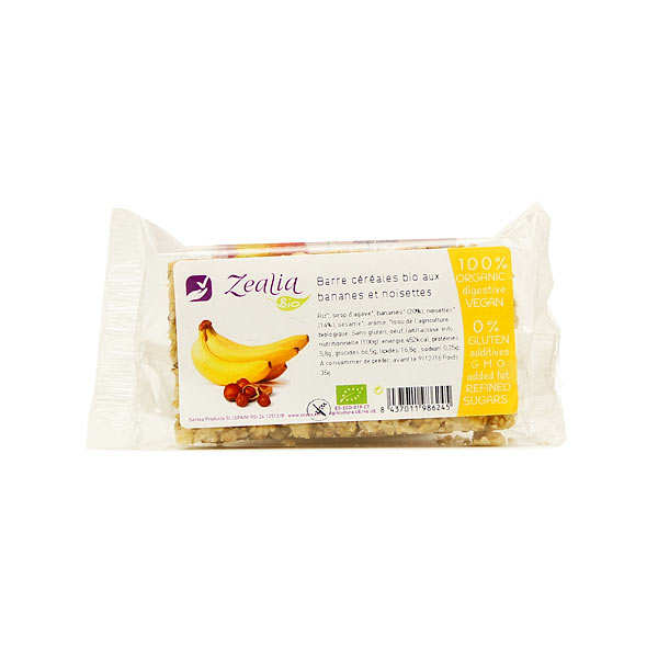 Organic Hazelnuts and Banana Cereals bar Gluten Free