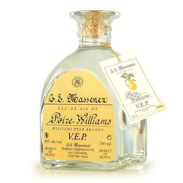 Eau de vie de poire Williams VEP - la bouteille de 50cl et son étui