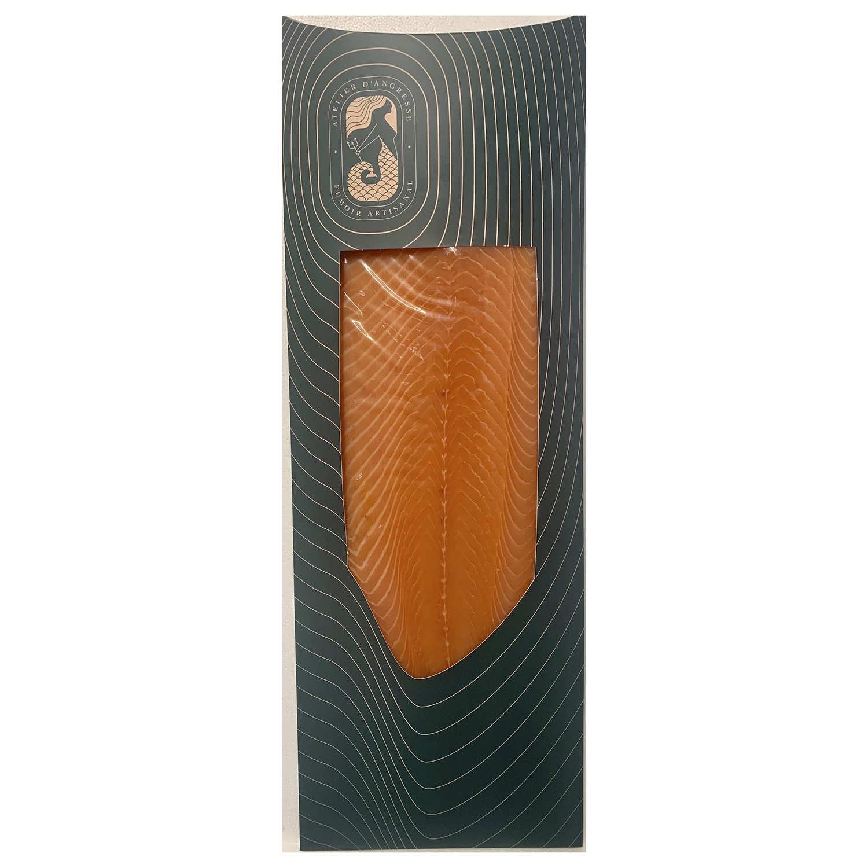 Saumon fumé artisanal d'Ecosse - filet entier tranché main sur peau