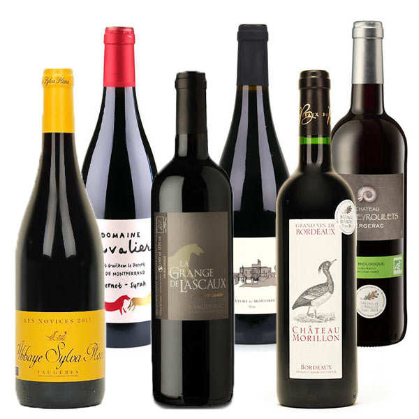 6 Assorted Organic Red Wines from France