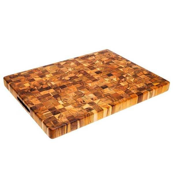 Billot rectangle en teck avec poignées 50x38 cm - Teak Haus