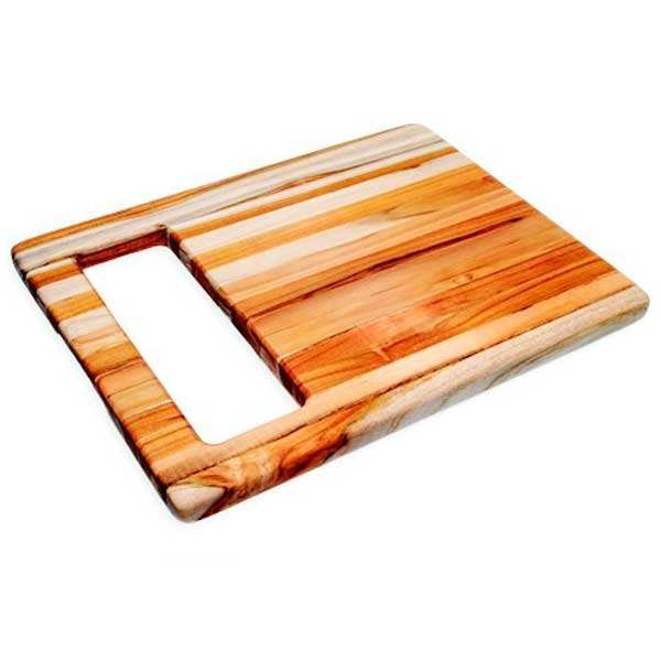 Teak and Rectangular Cutting Board with Large Handful - Teak Haus