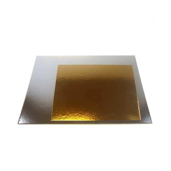Plateau à gâteau carré argent et or
