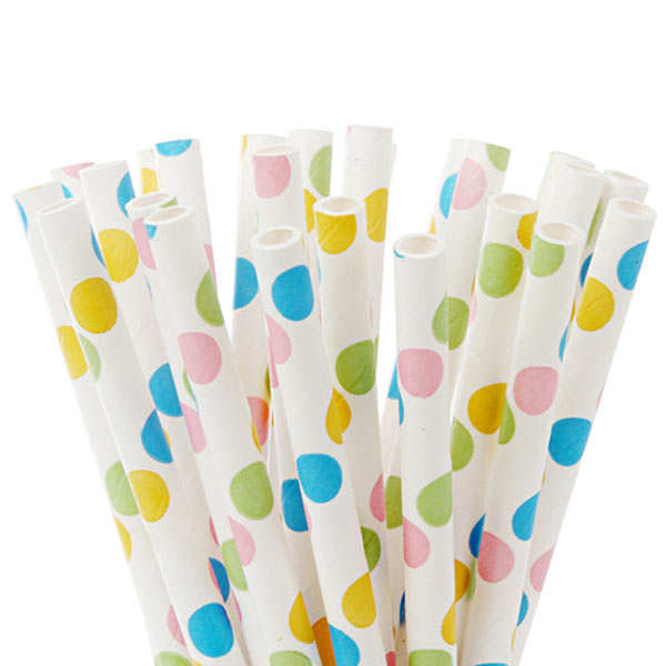 20 pailles à pois multicolores