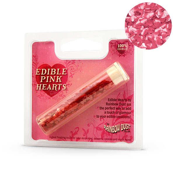 Petits coeurs décor alimentaire rose