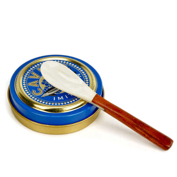 Mother-of-pearl and rosewood caviar spoon
