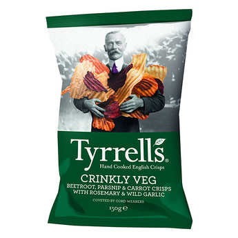 Tyrrells - Chips de légumes ondulées - panais, betteraves et carottes