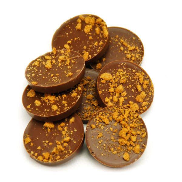 Bouchée de chocolat au lait fourrée au spéculoos