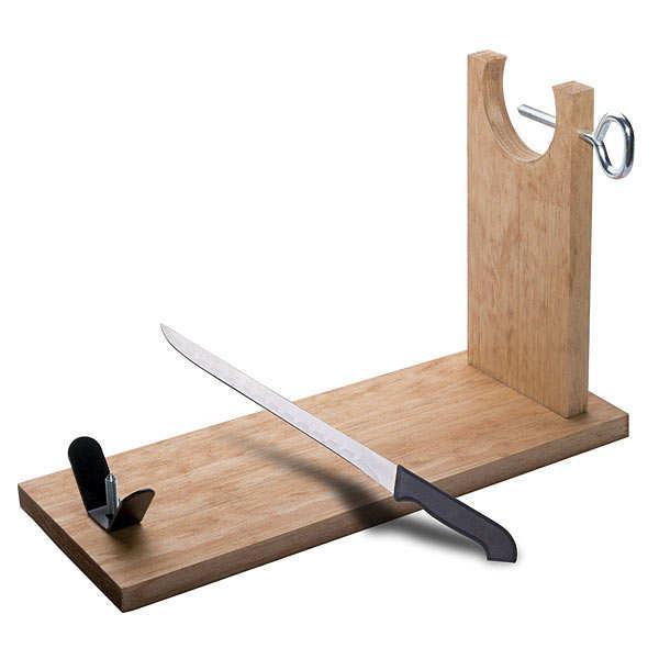 Support à jambon en pin nature + couteau - le support + couteaux