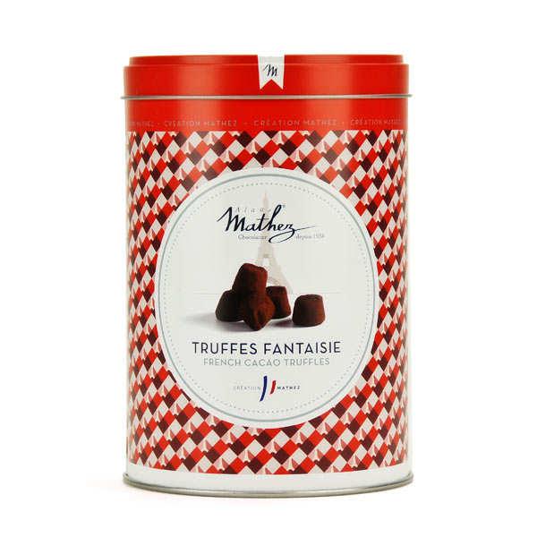 Truffes chocolat praliné en boite fer vintage