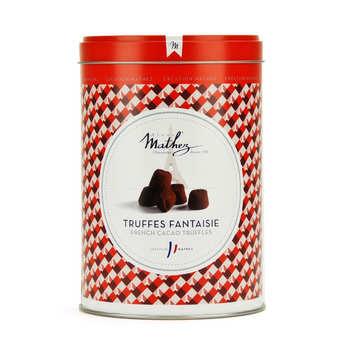 Chocolat Mathez - Truffes fantaisie éclats de caramel au beurre salé en boite fer vintage