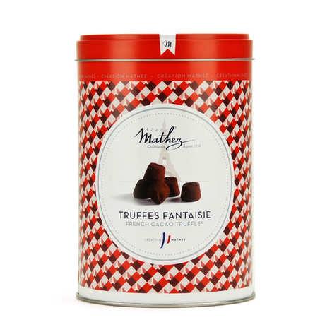 Chocolat Mathez - Truffe fantaisie aux éclats de caramel au beurre salé avec arôme naturel en boîte fer