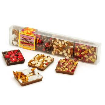 Les Caprices du Chocolatier - Réglette 8 carrés de chocolats gourmands assortis
