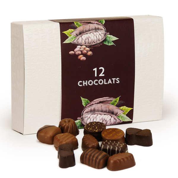 Ballotin de chocolats fins noirs et au lait assortis 125g
