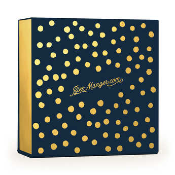 - Boite cadeau carrée aimantée à pois bleue et or
