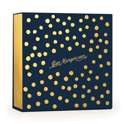 BienManger.com - Boite cadeau carrée aimantée à pois bleue et or