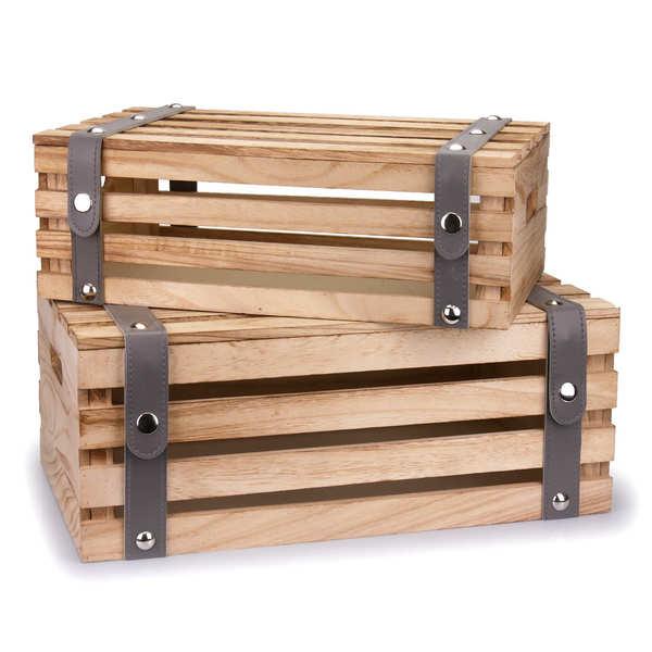 Coffre en bois vieilli lanières simili cuir gris