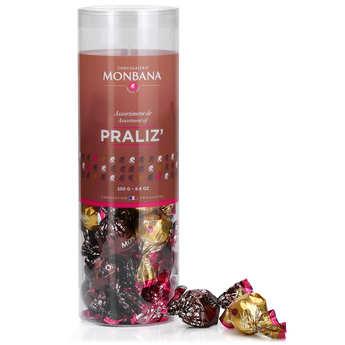 Monbana Chocolatier - Tube de papillotes praliné Praliz 4 saveurs