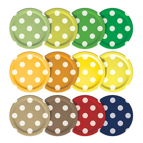 Set of 12 500ml Mason Jar Lids (Polka Dot Design)