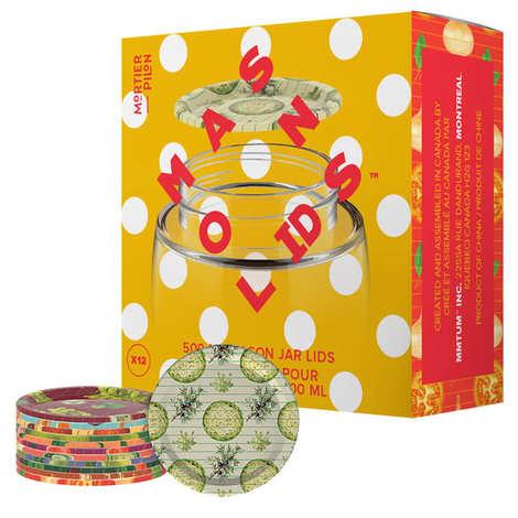 Mortier Pilon - Set of 12 500ml Mason Jar Lids (food ingredients design)