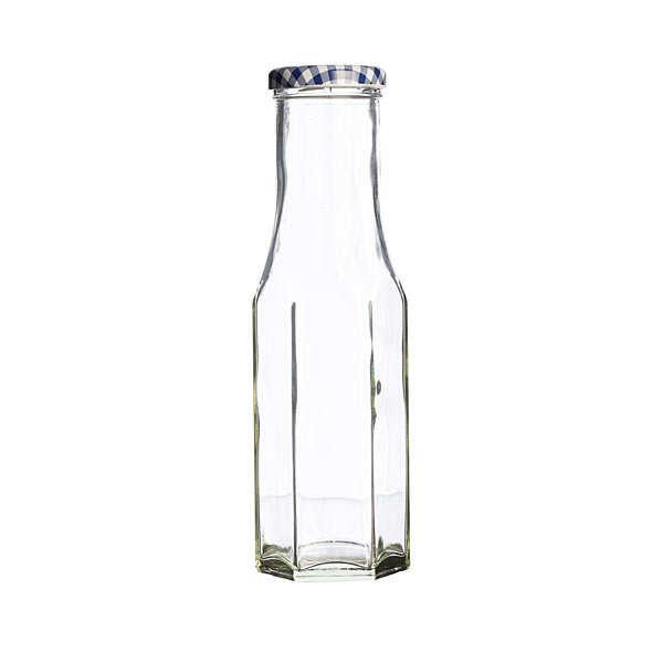 Bouteille hexagonale en verre et couvercle
