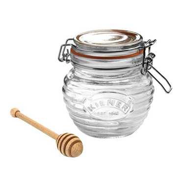 Pot à miel et cuillère en bois