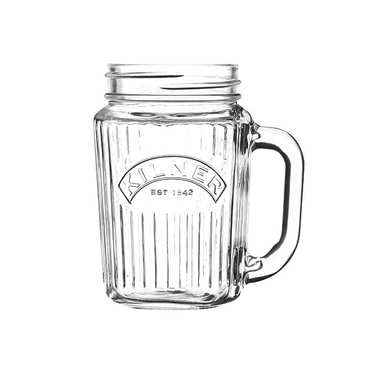Mug en verre strié avec anse Kilner 40cl