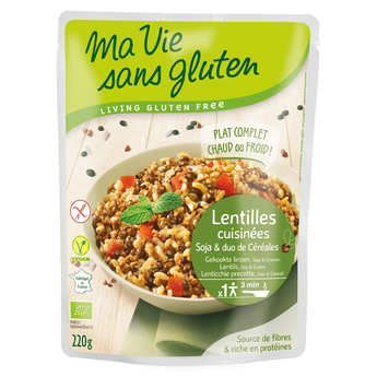 Ma vie sans gluten - Organic and Gluten Free Pre-Cooked Cereals : lentils, soybeans, rice, buckwheat